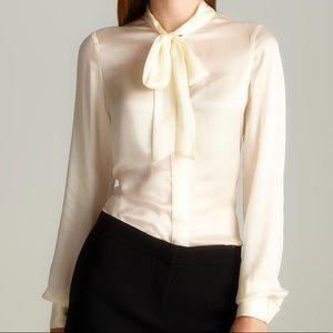 Rachel Zoe Cream Silk Button Down Pussy Bow Shirt